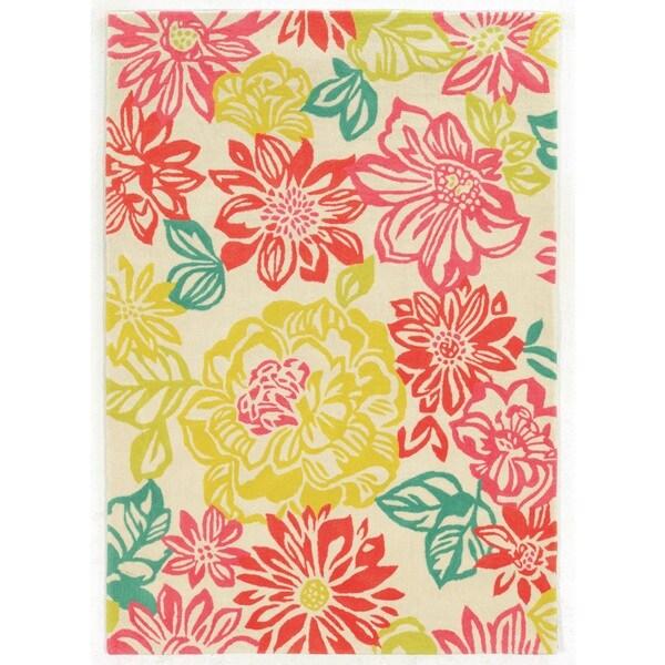Linon Trio Collection Brights Floral Multicolored Area Rug (2' x 3') - 2' x 3'