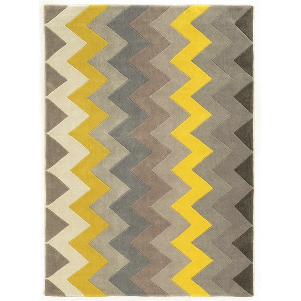 Linon Trio Collection Chevron Grey/ Yellow Area Rug (2u0027 ...