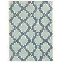 Linon Trio Collection Moroccan Blue/ Ivory Area Rug (5' x 7') - 5' x 7'