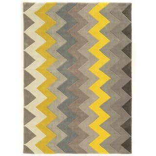 Linon Trio Collection Chevron Grey/ Yellow Area Rug - 5' x 7'