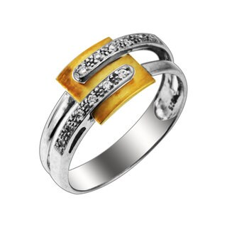 Sonia Bitton 14k Yellow Gold and Sterling Silver Diamond Ring (H-I, SI1-SI2)