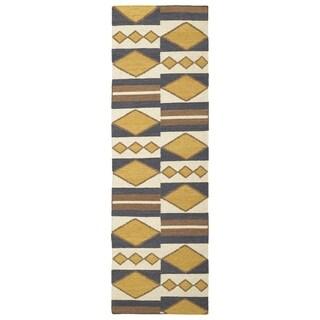 Flatweave TriBeCa Mustard Wool Runner Rug (2'6 x 8')
