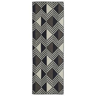 Flatweave TriBeCa Diamonds Black Wool Runner Rug (2'6 x 8')