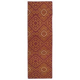 Flatweave TriBeCa Motif Brick Red Wool Runner Rug (2'6 x 8')