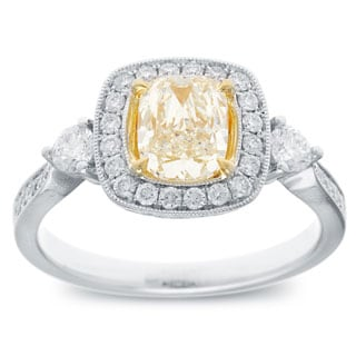 Azaro 18k Two-tone Gold 1 1/2ct TDW Cushion Natural Fancy Yellow Diamond Ring