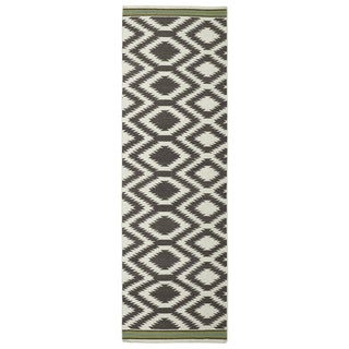 "Flatweave TriBeCa Handmade Grey Geometric Wool Rug - 2'6"" x 8'"