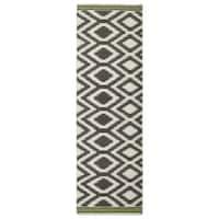Flatweave TriBeCa Handmade Grey Geometric Wool Rug - 2'6 x 8'