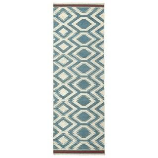 Flatweave TriBeCa Turquoise Geometric Wool Rug (2'6 x 8')