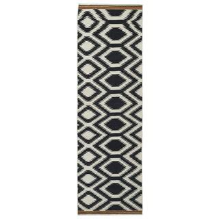 """Flatweave TriBeCa Black Geometric Wool Rug - 2'6"""" x 8'"""