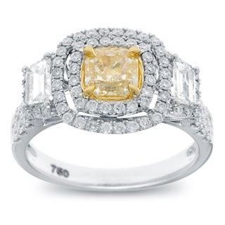 Azaro 18k Two-tone Gold 2 1/5ct TDW Cushion-cut Natural Yellow Double Halo Diamond Engagement Ring (G-H, S