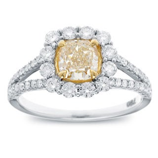 Azaro 18k Two-tone Gold 1 4/5ct TDW Cushion-cut Natural Fancy Yellow Diamond Halo Engagement Ring (G-H, SI