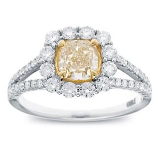 Azaro 18k Two-tone Gold 1 4/5ct TDW Cushion-cut Natural Fancy Yellow Diamond Halo Engagement Ring