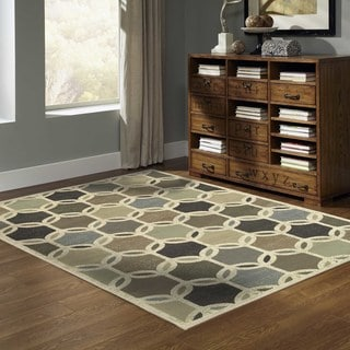 Transitional Circles Ivory/ Multi Rug (7'10 x 10')