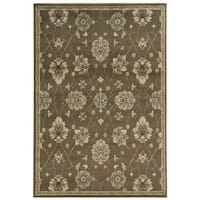Casual Floral Brown/ Beige Area Rug (5'3 x 7'3) - 5'3 x 7'3