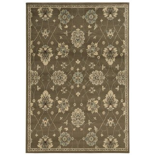 """Casual Floral Brown/ Beige Area Rug (6'7 x 9'3) - 6'7"""" x 9'3"""""""