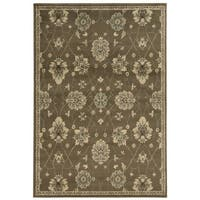 Casual Floral Brown/ Beige Area Rug - 6'7 x 9'3