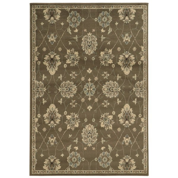 Casual Floral Brown/ Beige Area Rug (7'10 x 10') - 8' x 10'