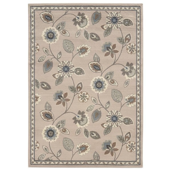"Copper Grove Leadworth Casual Floral Stone/ Blue Accent Rug - 1'10"" x 2'10"""