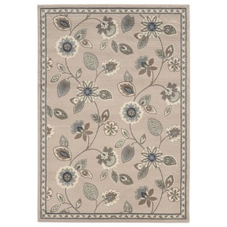 Casual Floral Stone/ Blue Area Rug (3'3 x 5'5)