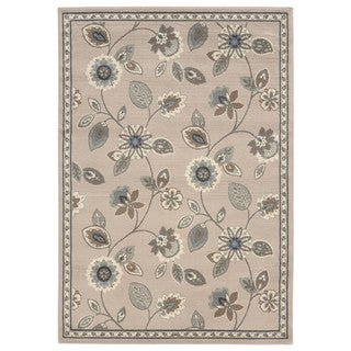 Casual Floral Stone/ Blue Area Rug (6'7 x 9'3)