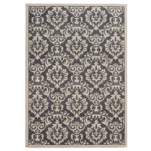 Copper Grove Spirit Rock Traditional Floral Charcoal/ Ivory Area Rug - 5'3 x 7'3