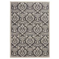 Clay Alder Home Black Hawk Traditional Floral Charcoal/ Ivory Area Rug - 6'7 x 9'3