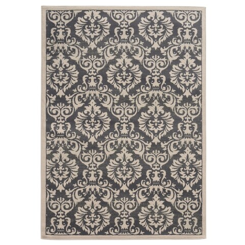 """Copper Grove Spirit Rock Traditional Floral Charcoal/ Ivory Area Rug - 7'10"""" x 10'"""