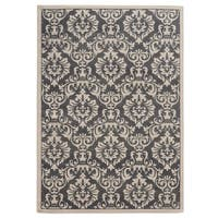 Copper Grove Spirit Rock Traditional Floral Charcoal/ Ivory Area Rug - 7'10 x 10'