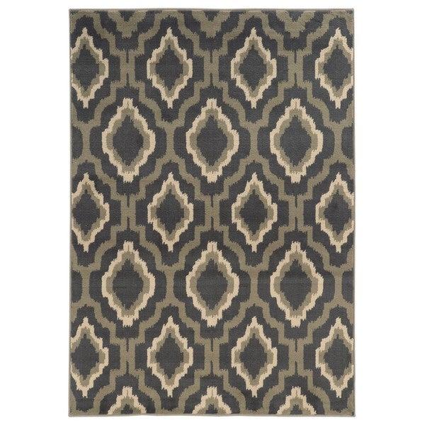 Ikat Lattice Design Charcoal/ Grey Area Rug - 5'3 x 7'3