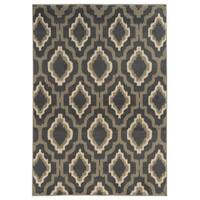 Ikat Lattice Charcoal/ Grey Area Rug (6'7 x 9'3) - 6'7 x 9'3