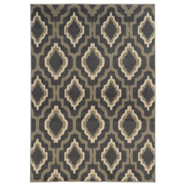 "Ikat Lattice Design Charcoal/ Grey Area Rug (7'10 x 10') - 7'10"" x 10'"