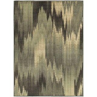 "Abstract Ikat Blue/ Grey Area Rug (6'7 x 9'3) - 6'7"" x 9'3"""