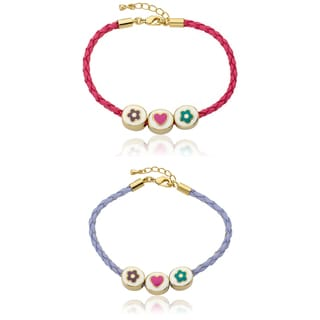 Little Miss Twin Stars Vermeil Enamel Flower Heart Flower Slides Braided Leather Bracelet