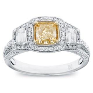 Azaro 18k Two-tone Gold 1 1/2ct TDW Cushion-cut Natural Fancy Yellow Diamond Ring (G-H, SI2-SI1)