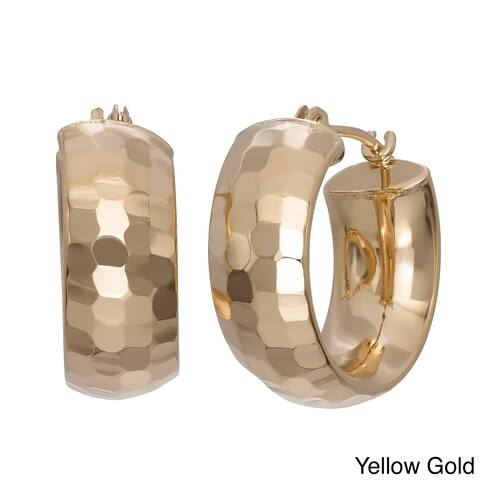 Gioelli 14k Yellow Gold Diamond-cut Wide Petite Hoop Earrings