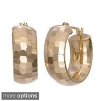Gioelli 14k Yellow Gold Diamond Cut Wide Pee Hoop Earrings