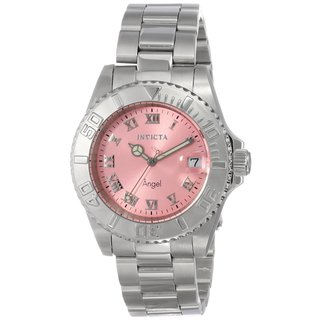 Invicta Women's 'Angel' Pink Dial Stainless Steel Watch
