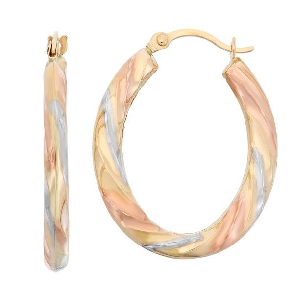 Gioelli 14k Gold Tri Color Diamond Cut Twist Hoop Earrings