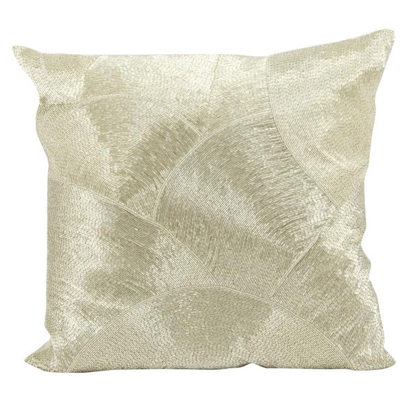 Mina Victory Luminescence Fan Design Silver Throw Pillowby Nourison (20-Inch X 20-Inch)