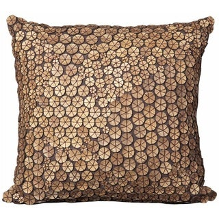 Mina Victory Brown Button 20x20 Throw Pillow