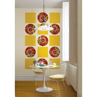 Wall Pops Carnivale Dot and Yellow Floral Blox Wall Decal Set