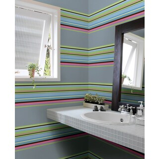 Wall Pops Blue Ribbon Candy Stripes Set Wall Art Decals