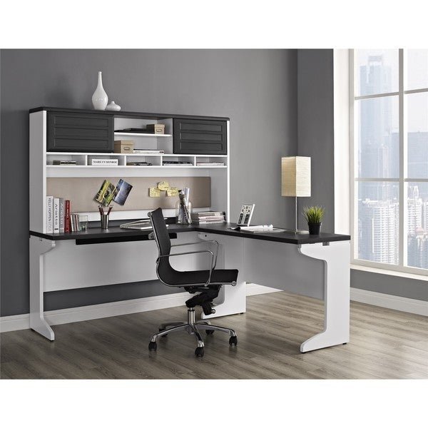 Ameriwood Home Pursuit White L Desk With Hutch Office Set