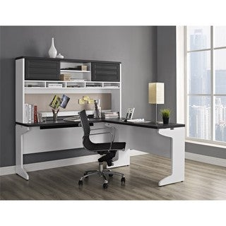 Ameriwood Home Pursuit White L-desk with Hutch Office Set