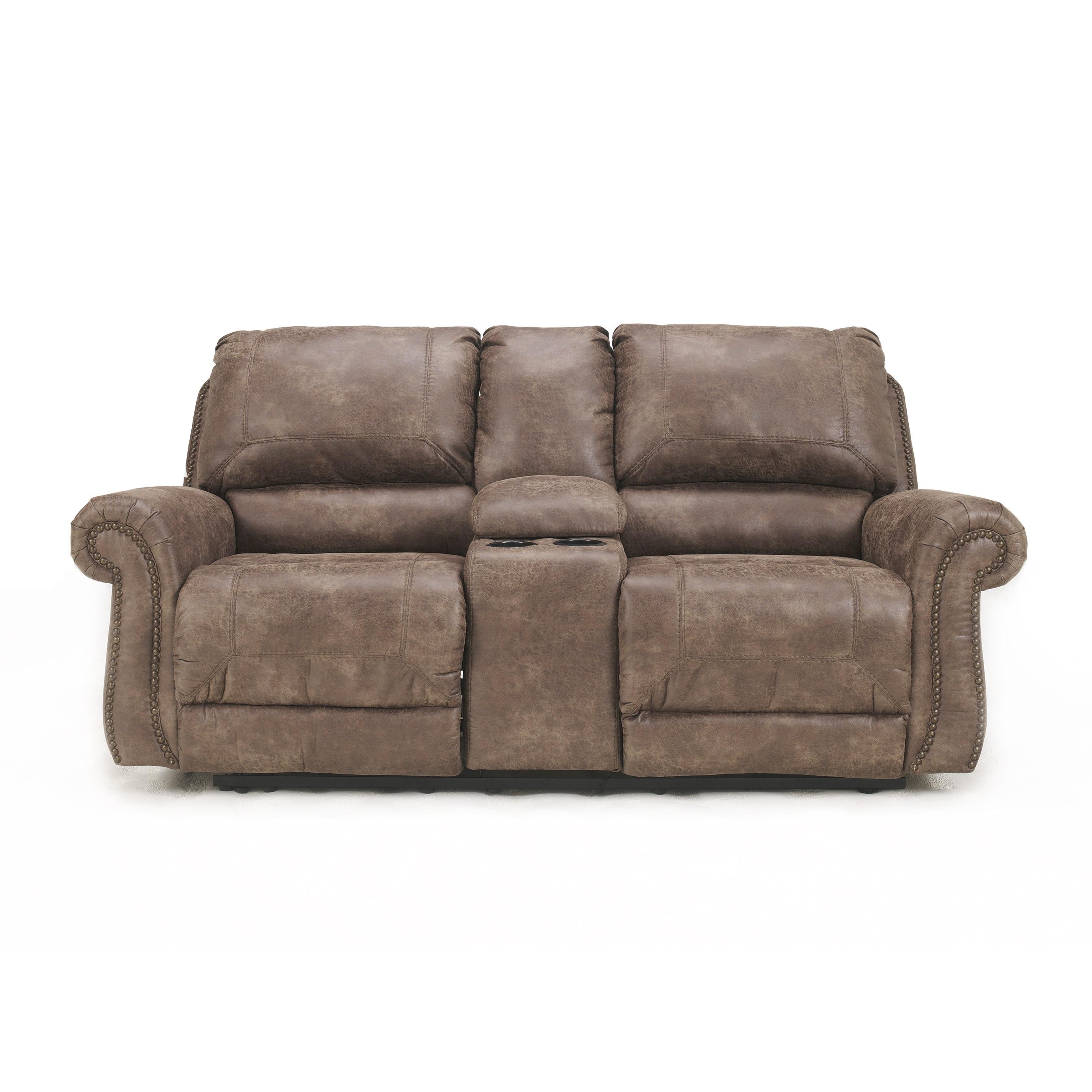 Ashley Oberson Gunsmoke Brown Dual-reclining Loveseat (Bo...