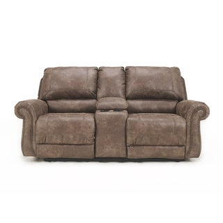 Signature Design by Ashley Oberson Gunsmoke Brown Dual-reclining Loveseat
