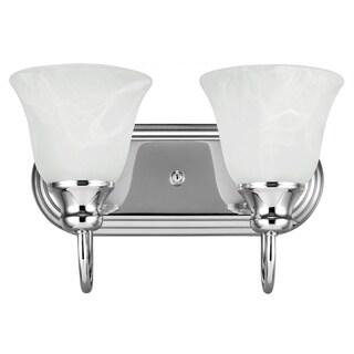 Sea Gull Lighting Windgate 2-light Wall/ Bath Chrome Vanity Fixture with Alabaster Glass