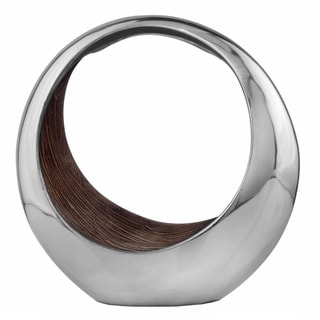 Brown/ Silvertone Round Ring Decorative Bowl