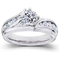 Annello 14k White Gold 1ct TDW Diamond 2-piece Bridal Ring Set