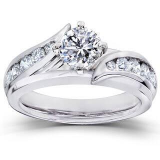Annello 14k White Gold 1ct TDW Diamond 2-piece Bridal Ring Set